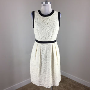 Milly of New York S 4 Ivory Black Lace dress